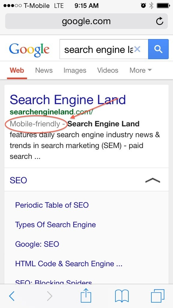 Mobile Friendly Google Results