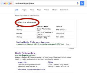 Google Erroneously Labelling Lawyers with Professional Misconduct