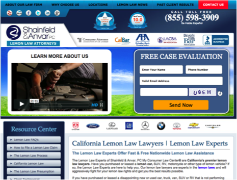 lemonlawexperts website screenshot