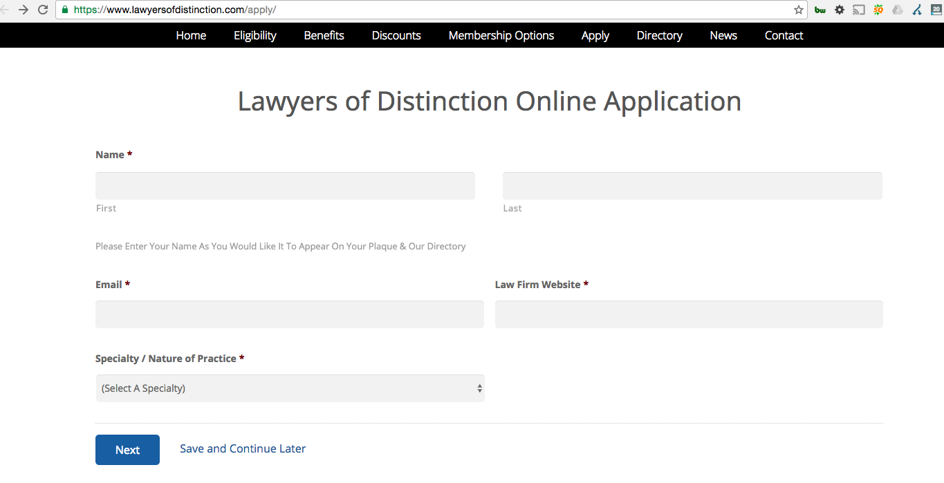 Lawyers of Distinction Application from Email